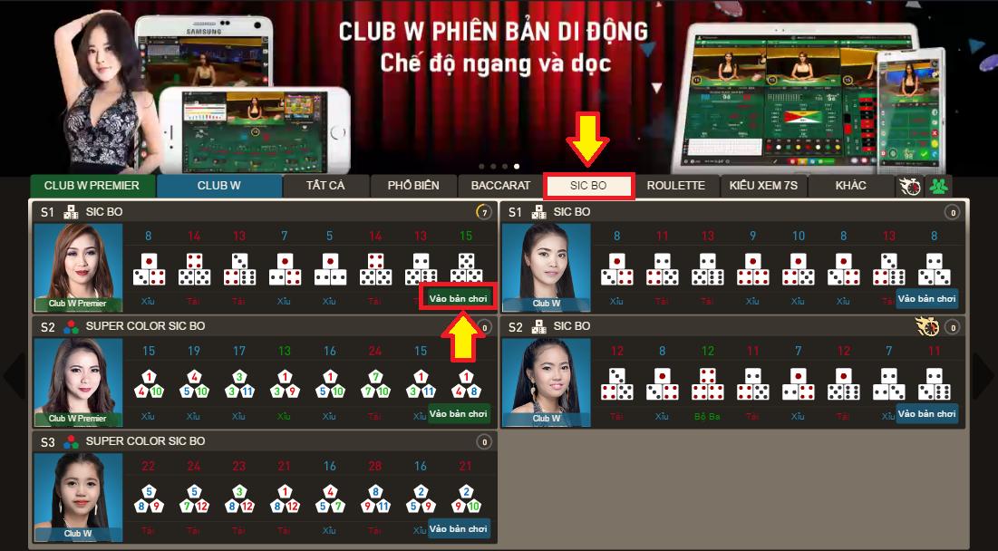 Hình 3 cách chơi sicbo tại w88